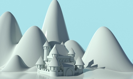 Castle of the Snow Queen in the background of the mountains. 3d rendering Standard-Bild - 115847176