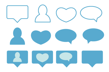 Blue Likes, followers and message icons isolated on white background. Flat design. Vector illustration Ilustrace