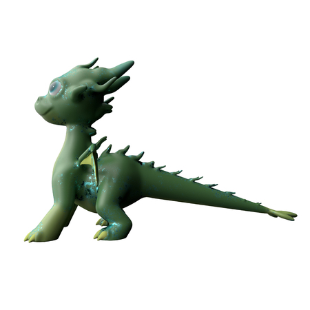 Green dragon side view isolated on white background. Cute cartoon character. 3d rendering Stock Photo
