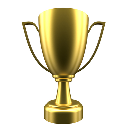 Golden winner cup isolated on white background. 3d rendering Imagens