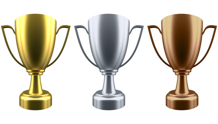 Set winner cup isolated on white background. Golden, Silver and Bronze. 3d rendering
