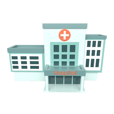 Hospital building on a white background. 3d rendering Reklamní fotografie