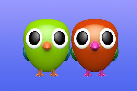 Couple of parrots. Cute cartoon character. 3d rendering