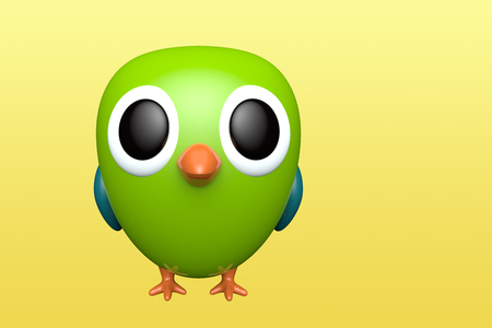 Parrot on yellow background. Cute cartoon character. 3d rendering Reklamní fotografie