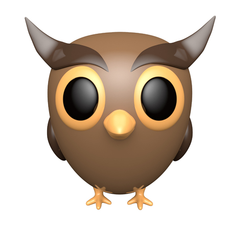 Owl isolated on white background. Cute cartoon character. 3d rendering