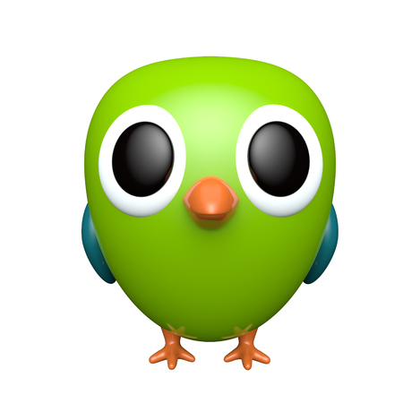Parrot isolated on white background. Cute cartoon character. 3d rendering