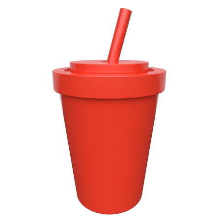 Red cup with a beverages and a straw on a white background. 3d rendering