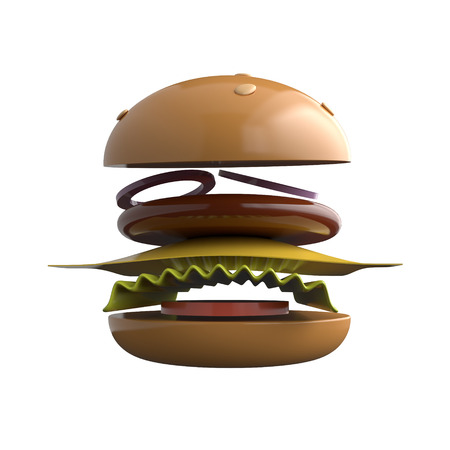 Tasty hamburger with ingredients isolated on white background. 3d rendering