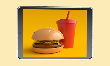 Order food online. Fast food on tablet. 3d rendering