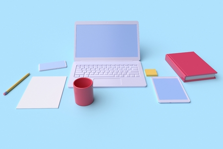 Workplace in the office. Table front view. Laptop, tablet and mobile phone on blue background. 3d rendering Reklamní fotografie