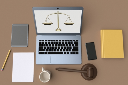 Workplace lawyer. Table top view. Laptop, tablet and mobile phone on brown background. 3d rendering