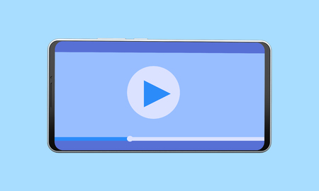 Mobile phone with video player on blue background. 3d rendering