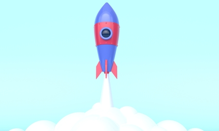 Business startup concept. Rocket launch on the sky. 3d rendering