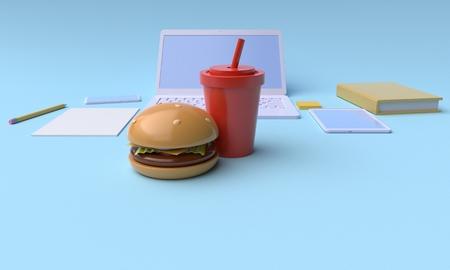 Lunch break. Fast food in the workplace. 3d rendering Reklamní fotografie