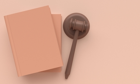 Concept law. Books and judges gavel. Top view. 3d rendering Reklamní fotografie