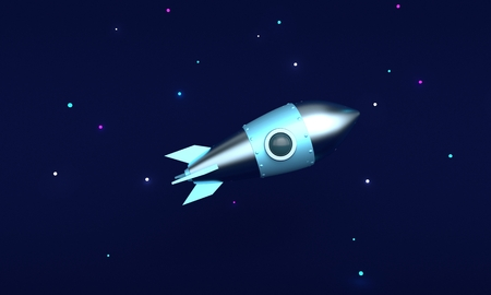 The rocket is flying in space on background with stars. 3d rendering