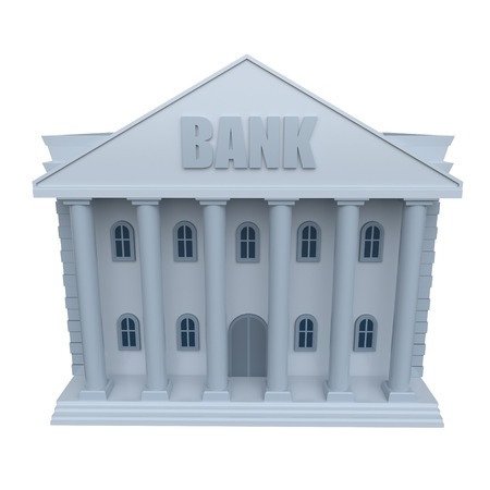 Bank building isolated on a white background. 3d rendering