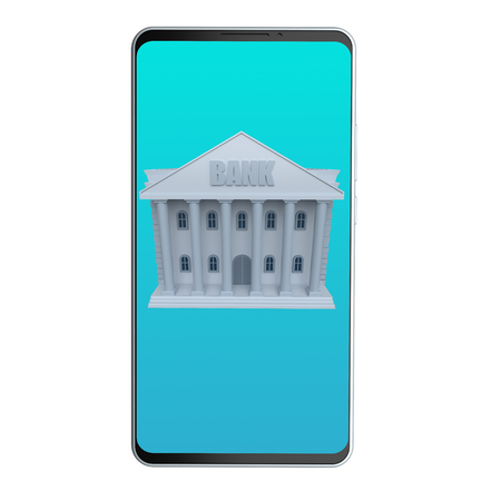 Online banking. Bank building on mobile phone isolated on a white background. 3d rendering