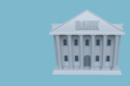 Bank building on a blue background. Landing page template. 3d rendering Reklamní fotografie