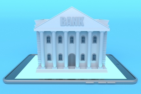 Online banking. Bank building on a tablet computer with blue backlight. 3d rendering