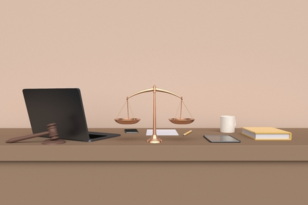 Workplace lawyer. Table front view. Laptop, tablet and mobile phone. 3d rendering Reklamní fotografie