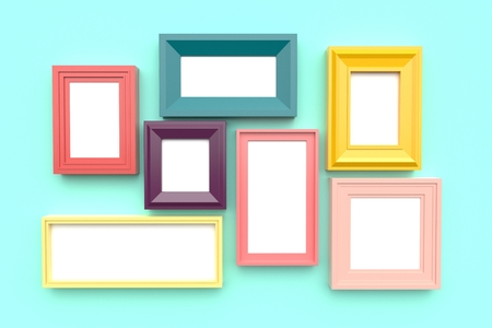 Set of bright frames for pictures or photos on wall. 3d rendering