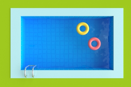 Top view. Summer time poster. Grass and Swimming pool with bright circles. 3d rendering