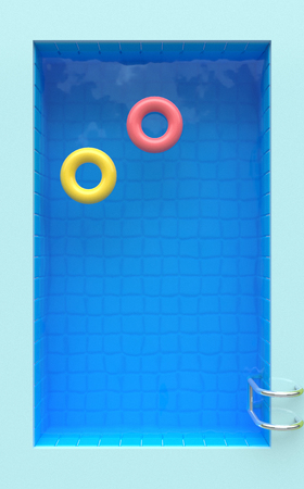 Swimming pool with bright circles. Top view. Vertical Summer time poster. 3d rendering Reklamní fotografie