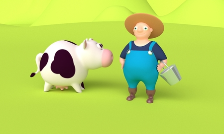 Concept agriculture. Farmer holding a bucket of milk on the background cow. 3d rendering Reklamní fotografie