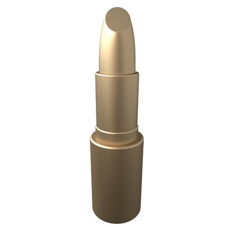 Golden lipstick isolated on white background. 3d rendering Reklamní fotografie