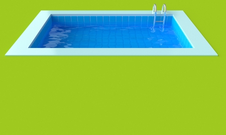 Summer time poster. Grass and Swimming pool. 3d rendering