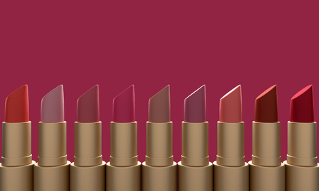 Fashion colorful lipstick on red background. Professional Makeup and Beauty.3d rendering