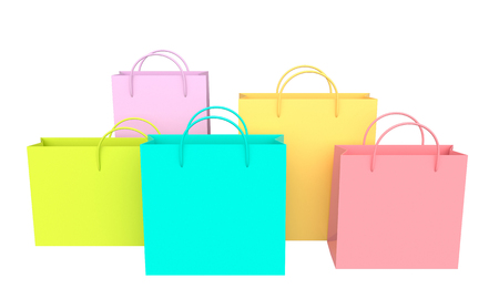 Colorful shopping bags isolated on white background. 3d rendering Reklamní fotografie