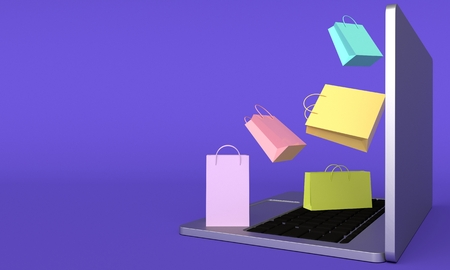 Colorful shopping bags are flying out of the laptop. Online shopping concept. 3d rendering
