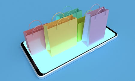 Colorful shopping bags on the screen of a mobile phone. Online shopping concept. 3d rendering Reklamní fotografie
