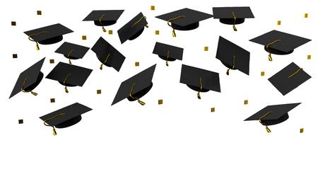 Cappellini di graduazione di volo del manifesto su una priorità bassa bianca. rendering 3d Archivio Fotografico