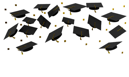 Poster flying graduation caps on a white background. 3d rendering Stockfoto