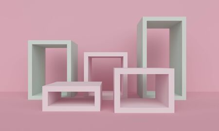 Geometric light pink abstract background with square platform. Minimalist backdrop design for product promotion. 3d rendering 版權商用圖片