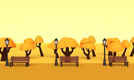 Autumn park with orange trees, benches and street lamps. 3d rendering 版權商用圖片 - 128363600