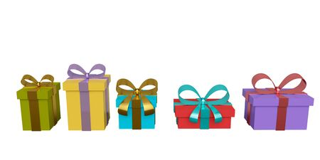 Set of colored gift boxes with ribbon and bow isolated on white background. 3d rendering 版權商用圖片