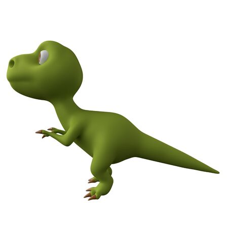 Dinosaur isolated on white background. Cute cartoon character. Side view. 3d rendering