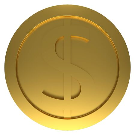 Gold coin isolated on white background. 3d rendering 版權商用圖片