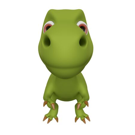 Dinosaur isolated on white background. Cute cartoon character. Front view. 3d rendering