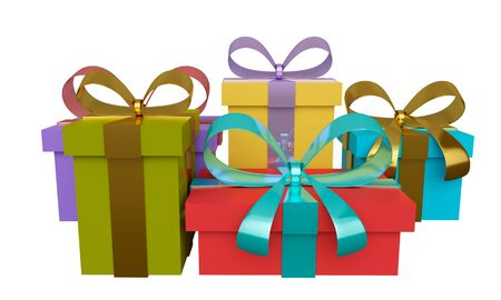 Group of colored gift boxes with ribbon and bow isolated on white background. 3d rendering
