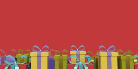 Greeting card gift boxes with ribbon and bow on a red background. 3d rendering 版權商用圖片