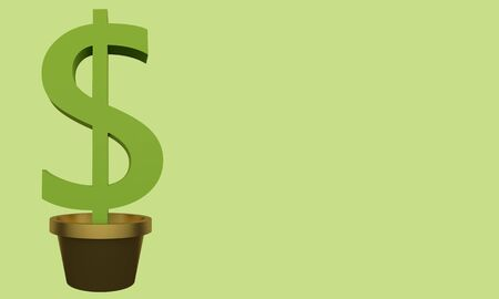 Banner money tree in a pot on a green background. 3d rendering