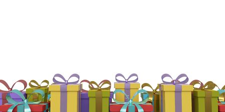Banner gift boxes with ribbon and bow isolated on white background. 3d rendering 版權商用圖片