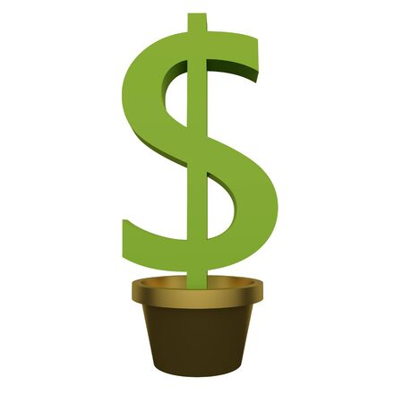 Green money tree in a pot isolated on white background. 3d rendering