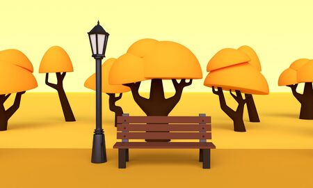 Landscape Autumn park with orange trees, benches and street lamps. 3d rendering