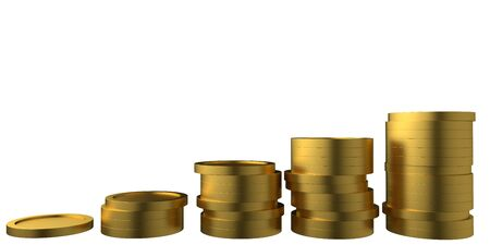 Business concept financial success. Golden coins isolated on white background. 3d rendering